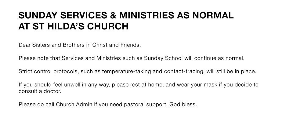 Church in Singapore Sunday Services as normal